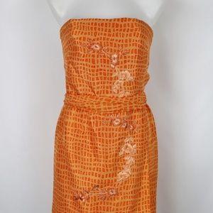 Kay Unger Orange Strapless Dress Size 2